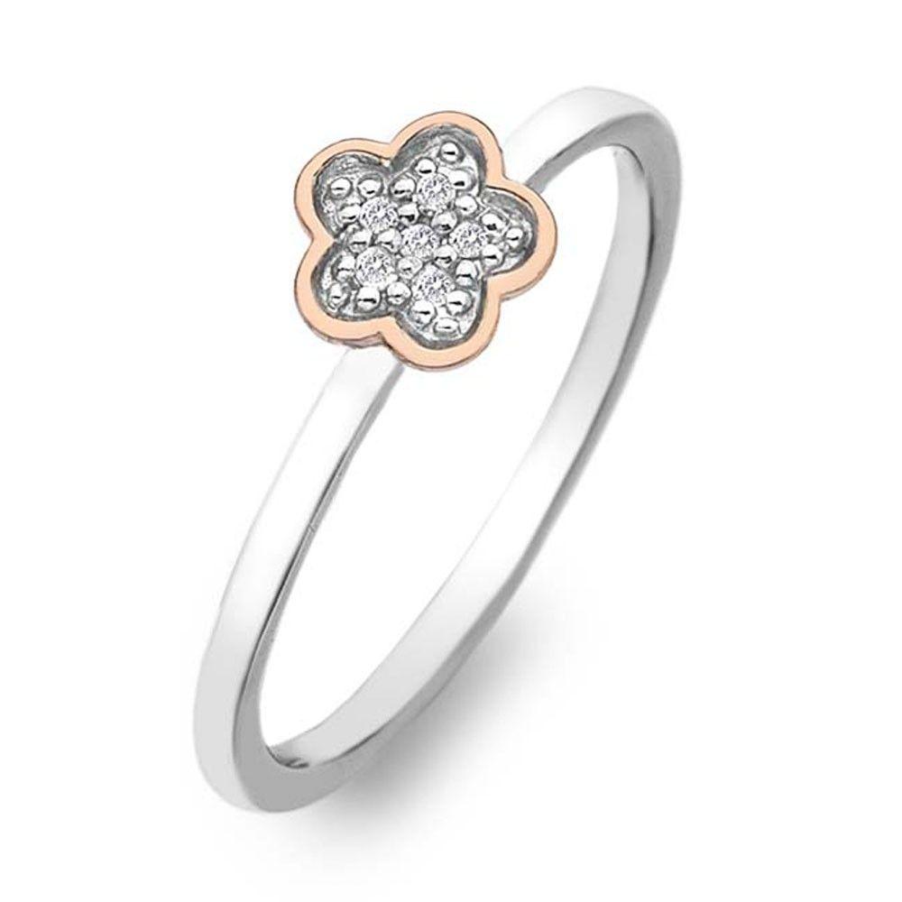 Hot Diamonds Stargazer flower sterling silver ring DR136