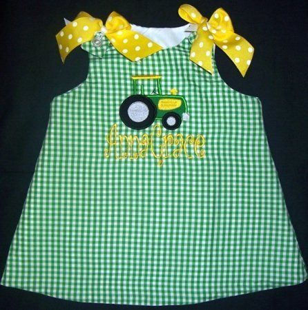 Girls Clothing :: Dresses :: Monogrammed Tractor Dress - Childrens Boutique & Upscale Baby Boutique   Boutique Kids Clothing, Kids Room Decor, Hip Baby Gear
