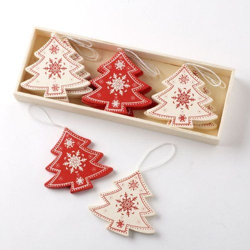 box of 12 nordic wooden christmas tree decorations 6cm amazoncouk kitchen home - Nordic Christmas Tree Decorations