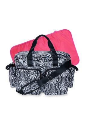 Disney Baby Mickey Mouse Deluxe Diaper Bag with Diaper pad and Clear pouch