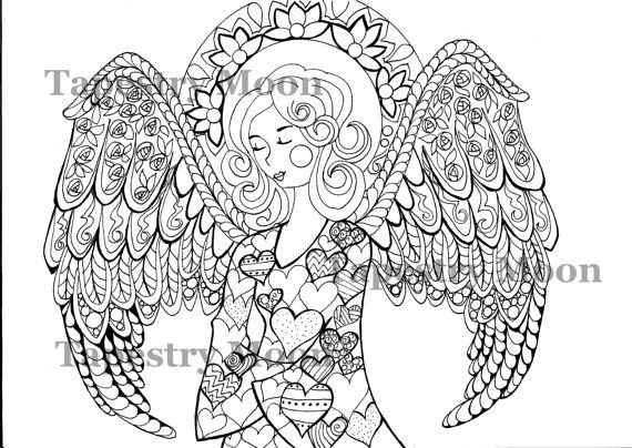 Zentangle Doodle adult coloring Page instant download PDF Zen
