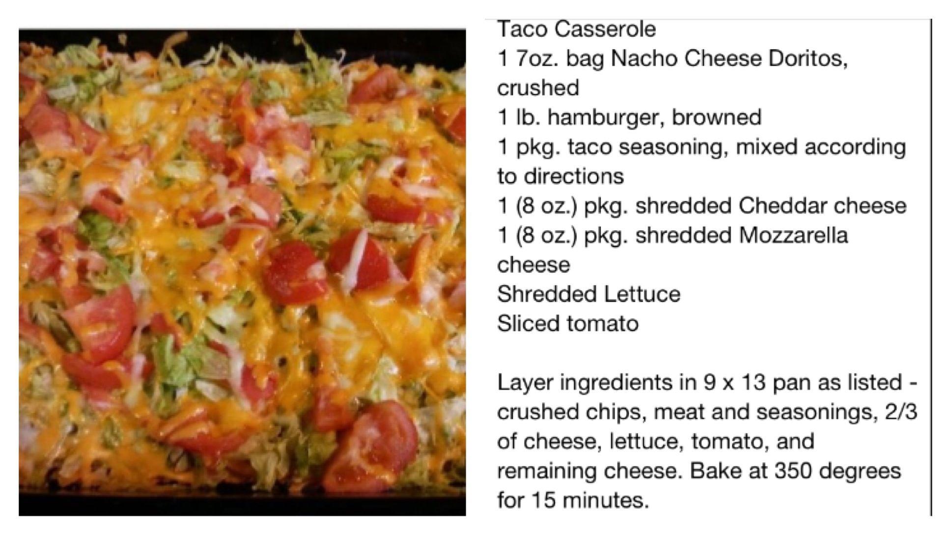 Taco Casserole... Yum! :)