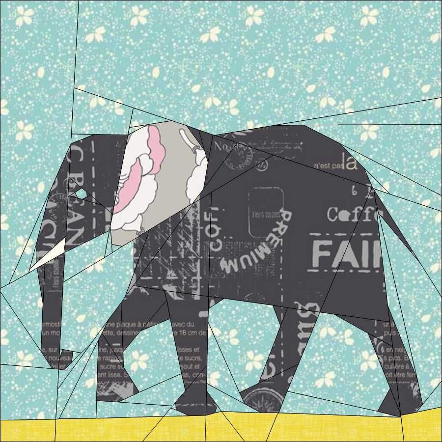 ELEPHANT BLOCK PAPER PIECED PC … | Elephant…