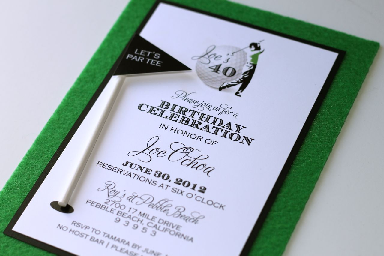 golf themed invitation embellished paperie 40th birthday golf