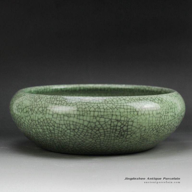 Shallow Crackle Glazed Small Green Ceramic Plant Pots Ceramic Plant Pots Green Ceramics Green