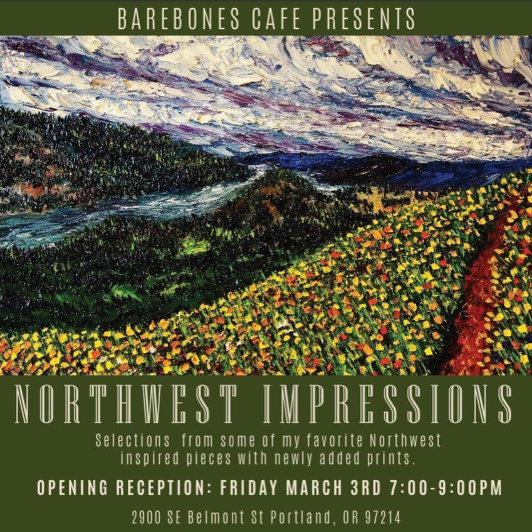 Everyone's invited to @barebonescafeandbar on Belmont St, for my opening reception of Northwest Impressions. Selections and prints from some of my favorite Northwest inspired pieces with newly added prints. March 3rd 7-9pm at 2900 SE Belmont St, Portland  Raffle starts at 7pm, $5 to enter to win, drawing @ 9pm!! . . . . . . . #artistic #northwestisbest #northwest #nw #gallery #fineart #oilsbyeryn #bend #oregon #easternoregon #pdx #pdxart #portland #portlandart #exploreoregon #traveloregon #trave