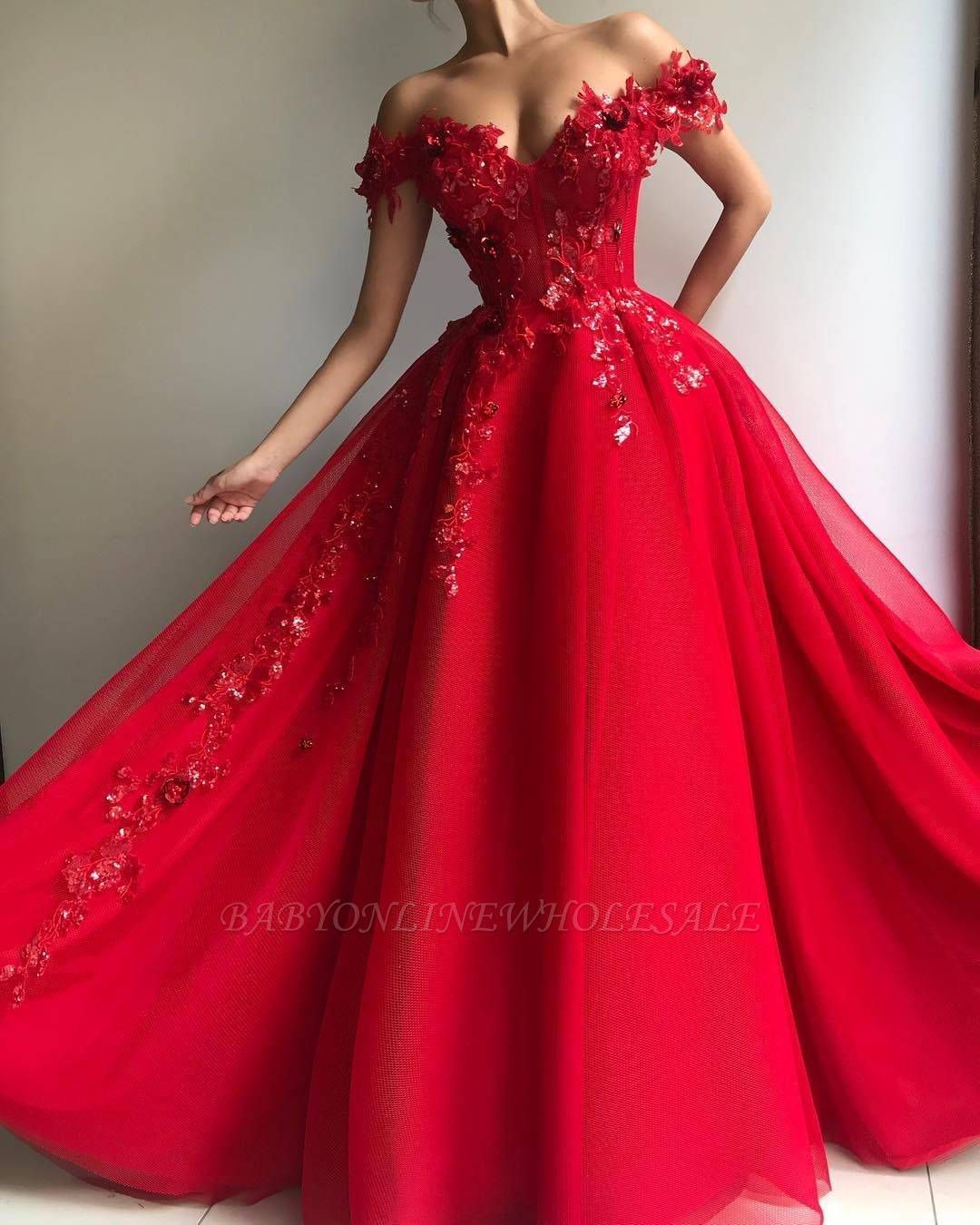 glamorous ball gown off the shoulder applique flow in 2020