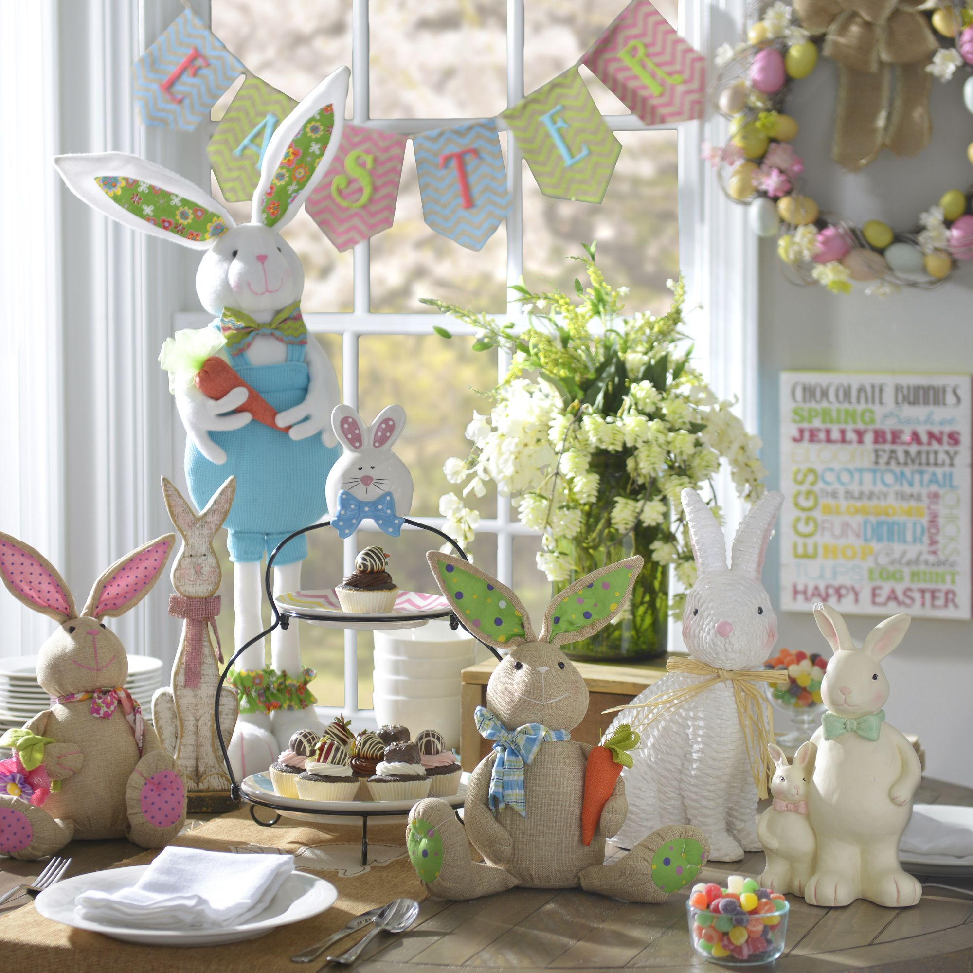 Count On Kirkland S For Your Easter Home Decor With Cheerful Colors Friendly Bunnies And Basket Diy Easter Decorations Easter Centerpieces Easter Tablescapes