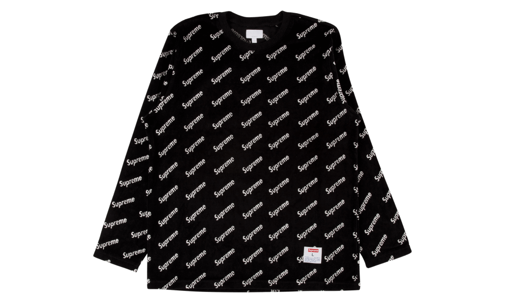Supreme Velour Diagonal Logo L/S Top Tops, Long sleeve