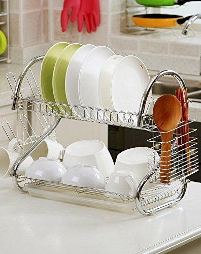 Pindia Fancy Foldable Diy Stainless Steel Kitchen Rack Stand Utensil Holder Stainless Plate Stainless Steel Kitchen Steel