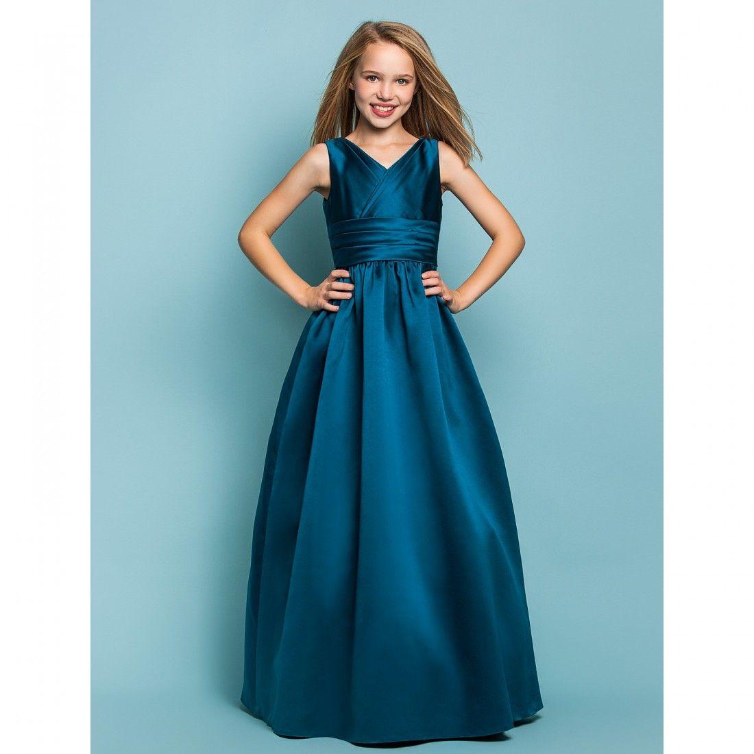 A-Line Princess V Neck Floor Length Satin Junior Bridesmaid Dress ...