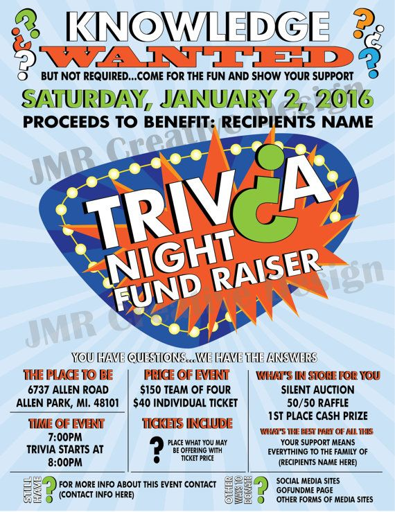 Trivia Night Fundraiser Flyer Benefit Flyer Knowledge Wanted
