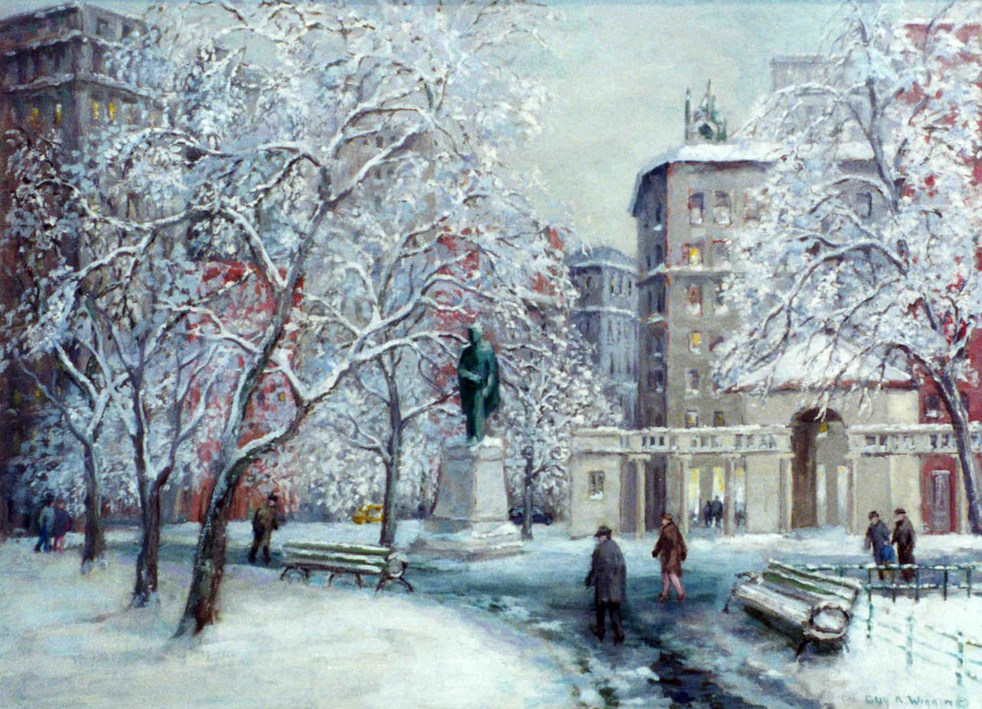 """Guy Wiggins, First Snowfall of the Season-Union Square Looking North. Oil on canvas, 22"""" x 28"""", 1998"""