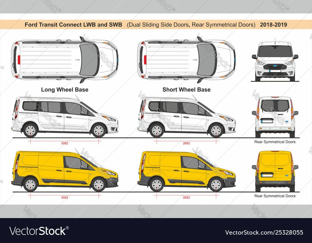 Ford Transit Connect Lwb And Swb 2018 Royalty Free Vector