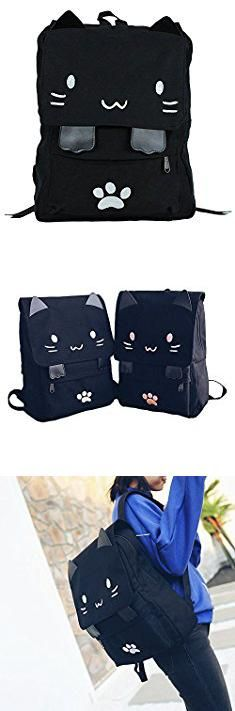 f75293473aa7 Japanese Designer Bags. Black College Cute Cat Embroidery Canvas School  Laptop Backpack Bags For Women Kids Plus Size Japanese Cartoon Kitty Paw  Schoolbag ...