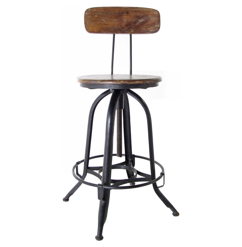 Architect S Industrial Wood Iron Counter Bar Swivel Stool With