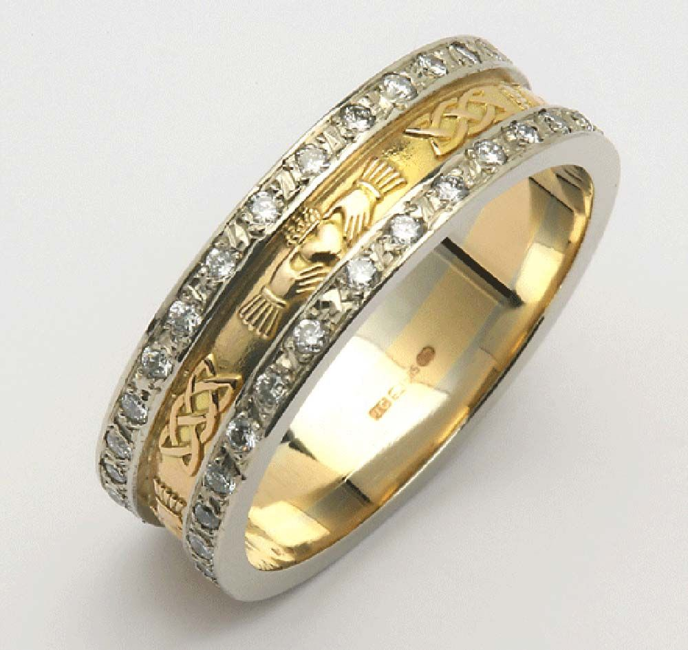 Celtic diamond wedding rings - zooming is worthwhile to see the ...