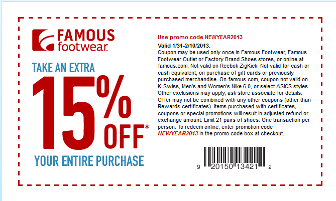 Famous footwear, Coupon