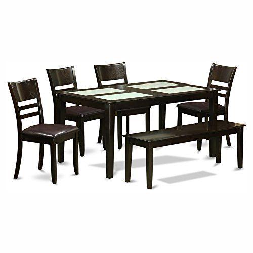 East West Furniture Capris 6 Piece Glass Top Rectangular Dining
