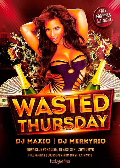 Wasted Thursdays Free Flyer Template  HttpFreepsdflyerCom