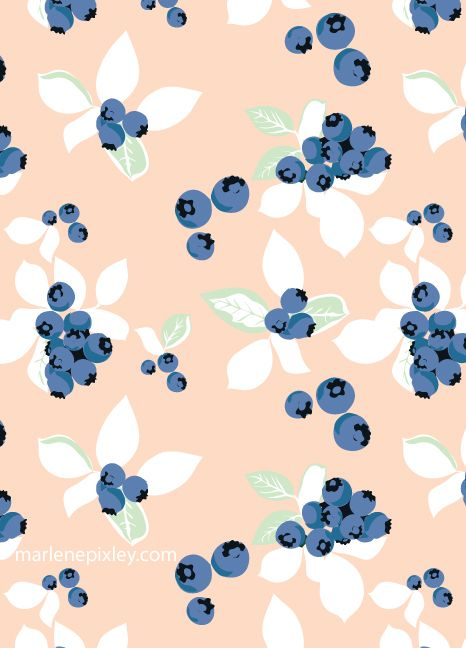 Blueberry Pattern : blueberry, pattern, Blueberries, Pattern, Wallpaper,, Print, Patterns,