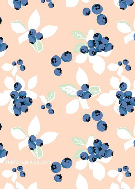 Blueberries Pattern Wallpaper Print Patterns Pattern Art