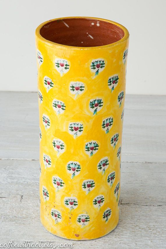Large Vintage Yellow Vase Large Cylinder Vase Glazed Terra Cotta