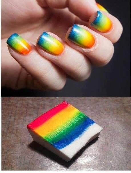 This my next nails to try nails pinterest makeup manicure use a makeup sponge to make ombr and rainbow color nail designs prinsesfo Images