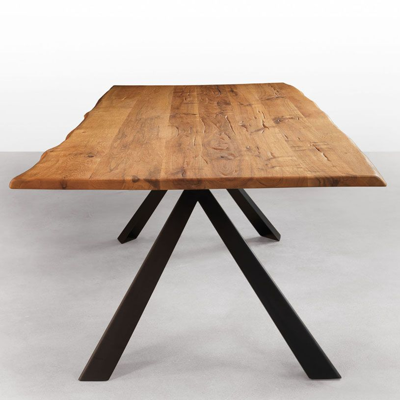 Dining Room Table Bases Wood: Avedon Live Edge Solid Wood Dining Table With Metal Legs