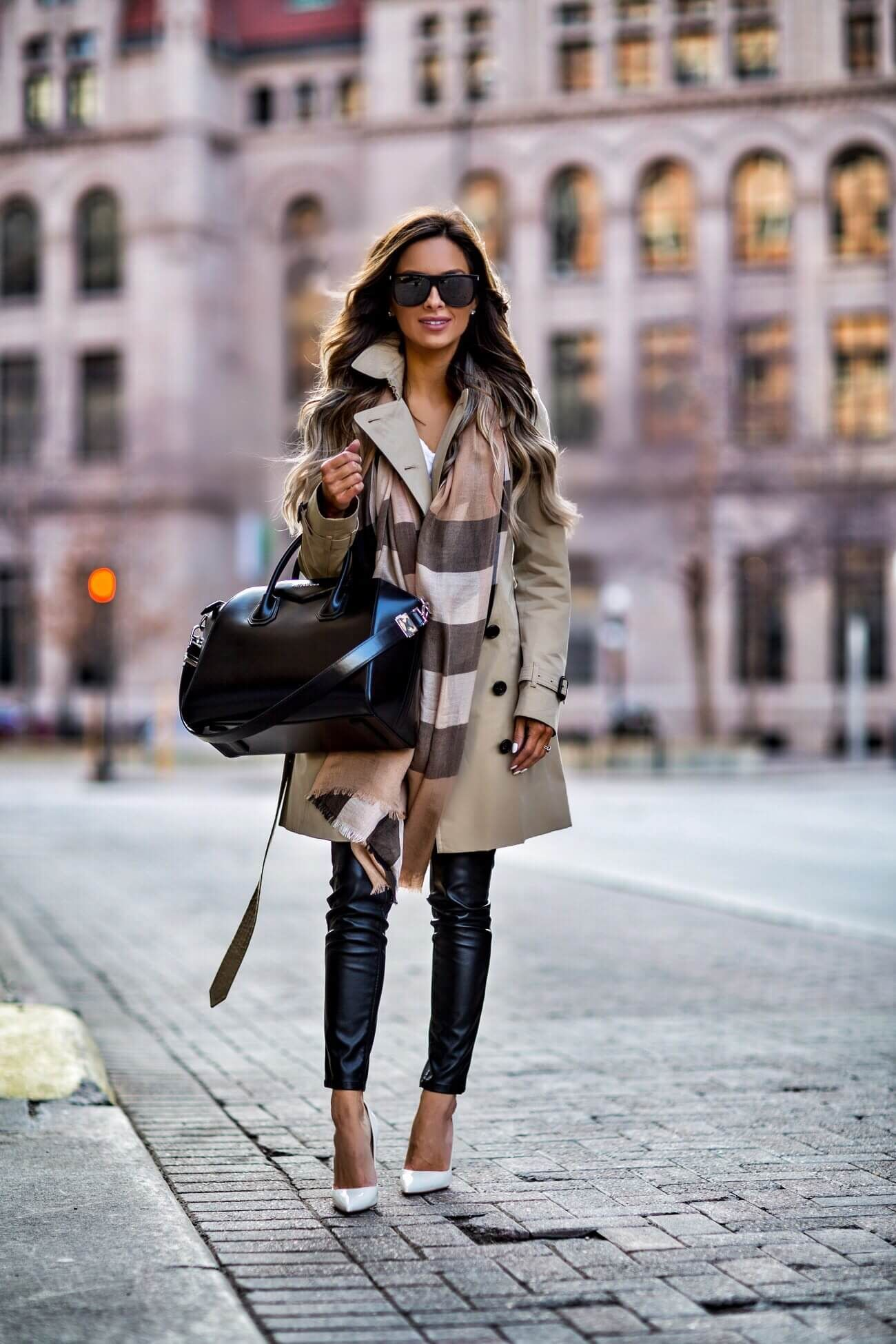 fashion blogger mia mia mine wearing a burberry scarf and a burberry trench  coat from nordstrom 51bf35513936b