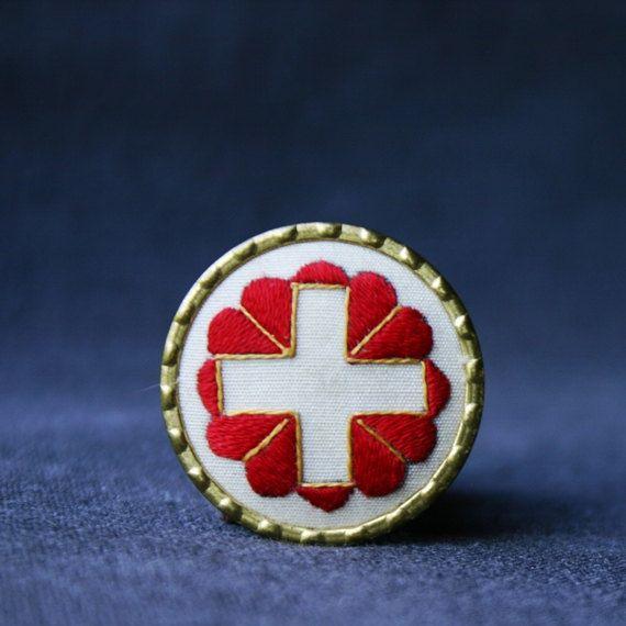Swiss Winter Rescue 1939 Brooch Swiss Flag Swiss Swiss Miss
