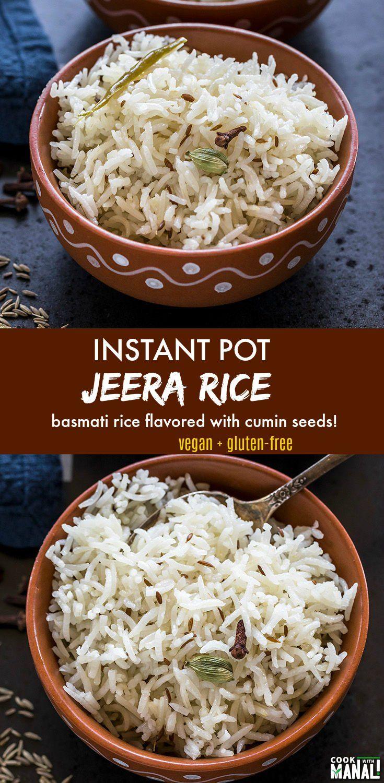 Basmati rice tempered with whole cumin seeds jeera rice