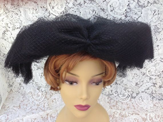 Items similar to Fabulous Vintage Maria Pia Large Black Netted Hat 1960's on Etsy