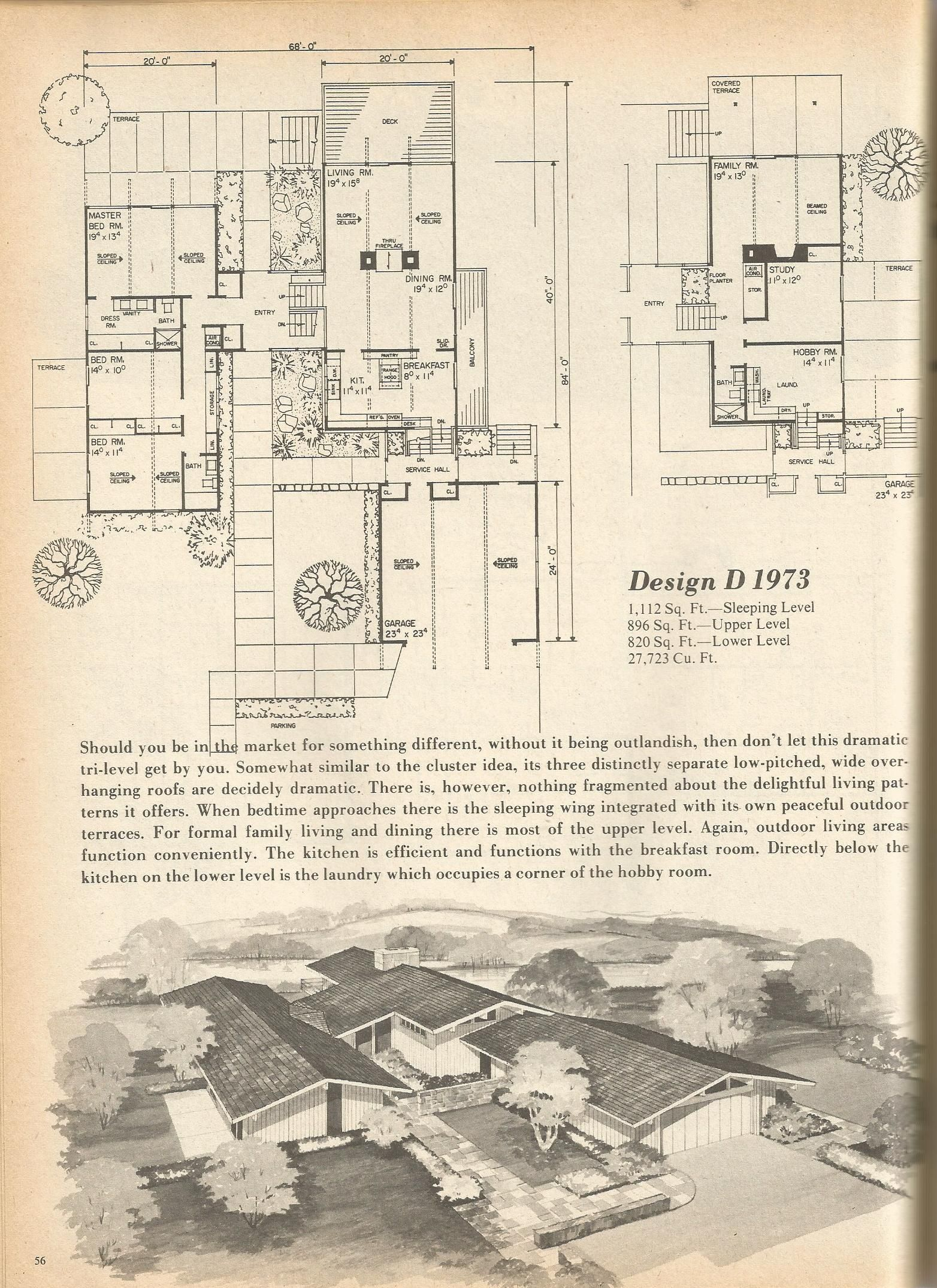 Cute And Interesting Idea, Mix Between Rancher And Split Level            Vintage House Plans, Mid Century Homes, Floor Plans