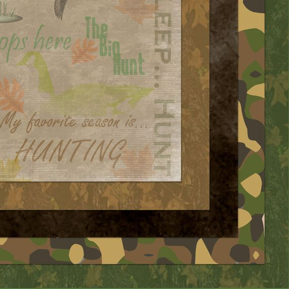 12 X 12 Digital Scrapbook Kit Hunting 500 Via Etsy Camo