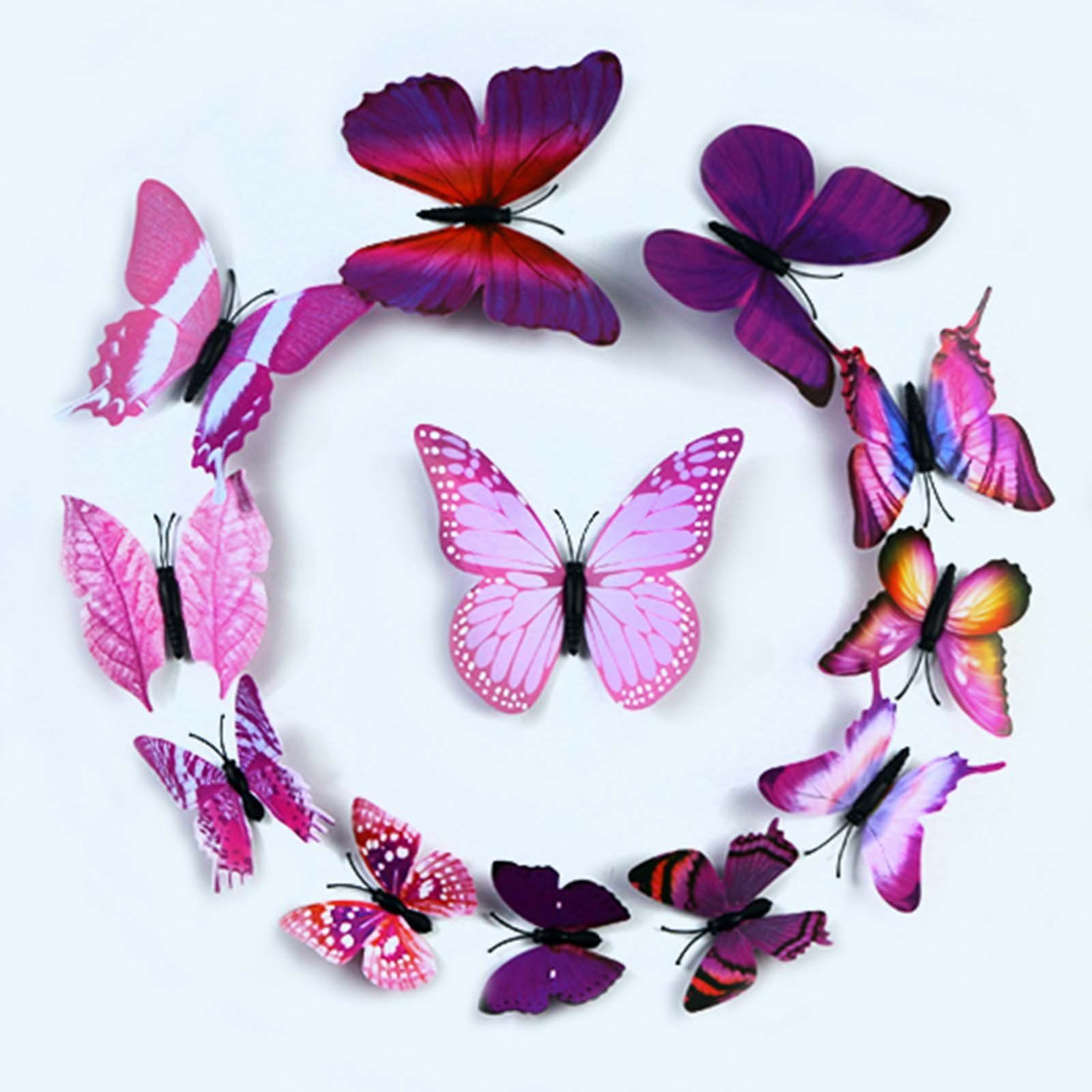12 pack 3d butterfly wall decals stickers diy purple on wall stickers design id=23864