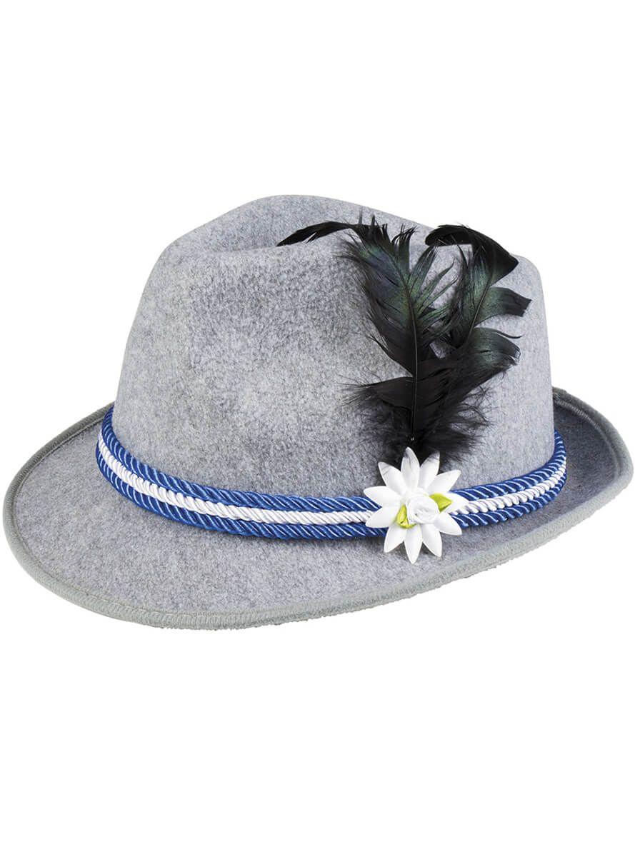 Gorro de bávaro gris con adorno de pluma azul y edelweiss ... 54938f20afc