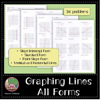 Graphing Lines All Forms Standard Form Algebra Activities And