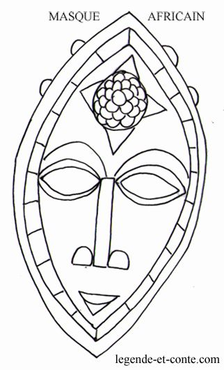 Coloriage masque africain n 322 531 masques - Masque africain a imprimer ...