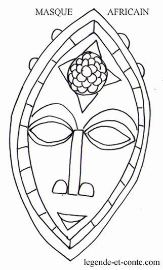 Coloriage masque africain n 322 531 masques - Dessin de masque africain ...