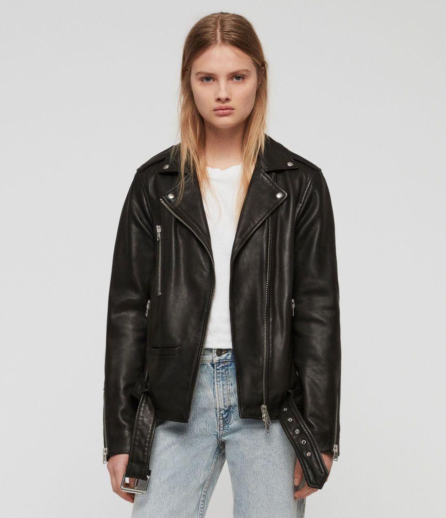 Allsaints Uk Womens Wade Oversized Leather Biker Jacket Black Jacket Outfit Women Leather Jackets Women Jackets For Women [ 1044 x 900 Pixel ]