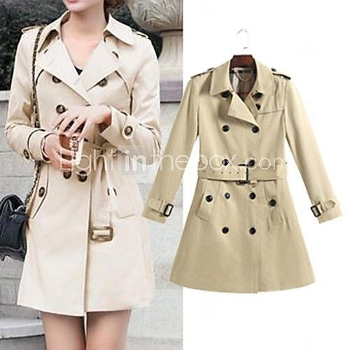 Women's Trench Coat,Solid Long Sleeve Spring / Fall Beige / Black Cotton / Polyester Medium - USD $23.99