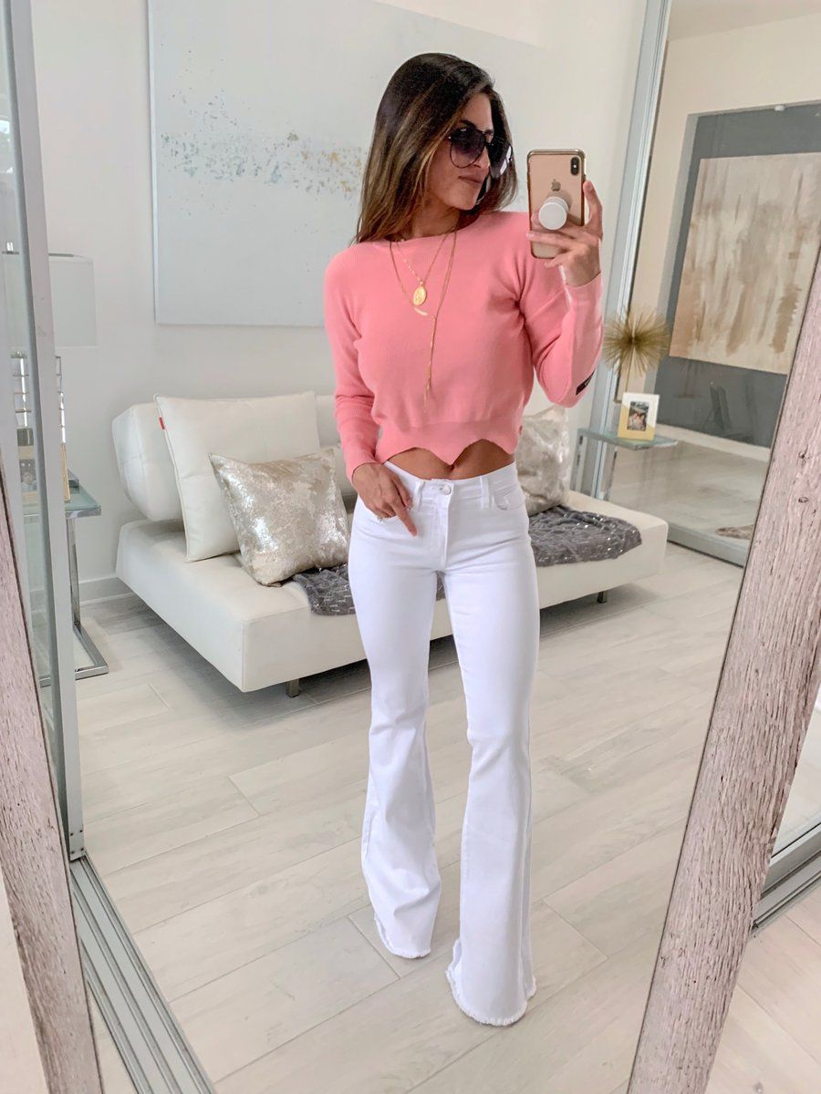 White Flare Jeans Mid Rise Classic Five Pocket Design Flare Bell Bottom Leg With Raw Edge Hem 98 Cotton 2 Spa Pink Blouse Design White Jeans Outfit Fashion