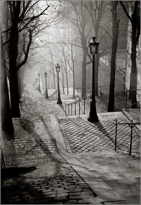 Mood - and steep climb! - captured perfectly.  I love Paris.    Brassai, Les Escaliers de Montmartre, Paris
