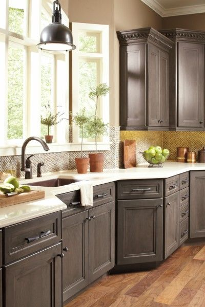 Gray Kitchen Cabinets: Dynasty Cabinets, Loring Door Style, Smoky Hills  Finish On Cherry