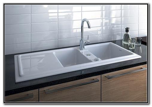 Dbl Kitchen Sink With Drainboard Attached On The Left Side Ceramic Kitchen Sinks Sink Kitchen Sink Drainboard