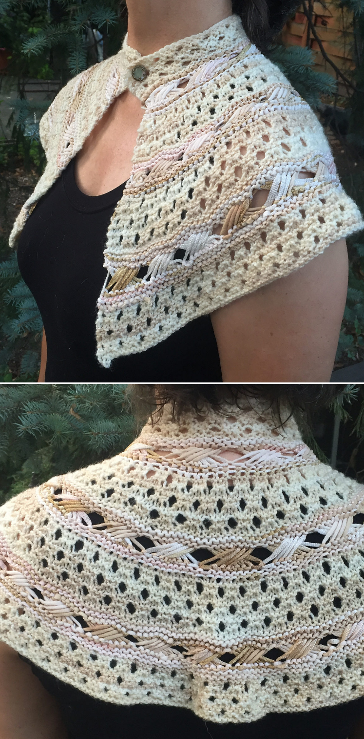 Free knitting pattern for exes and ohs shawl a garter lace and free knitting pattern for exes and ohs shawl a garter lace and indian cross stitch shawlettecapelet that covers the upper shoulders and back and closes bankloansurffo Gallery