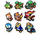Pokemon Perler Generation 4 Starters - Choose 1 or a set of 3