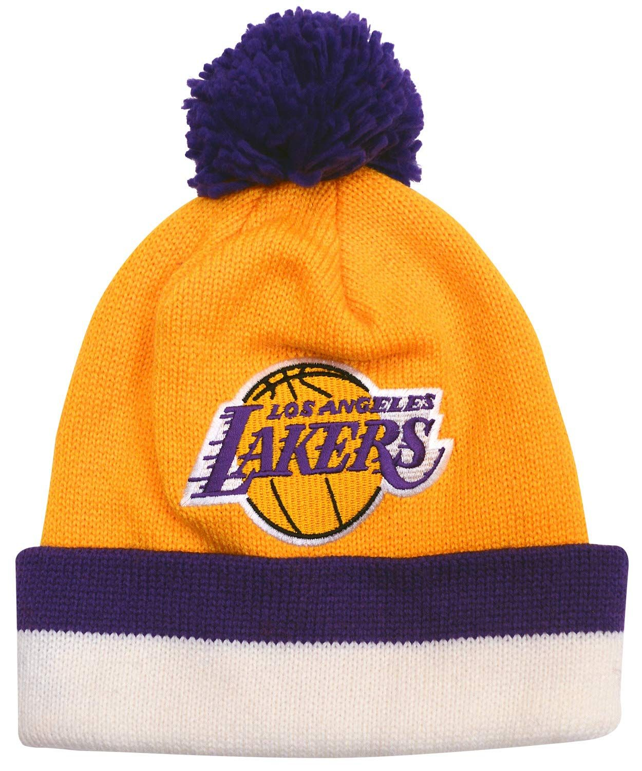 f88dfb2f5c5 Mitchell   Ness Los Angeles Lakers NBA Gold Vintage Jersey Stripe Cuffed  Knit Beanie