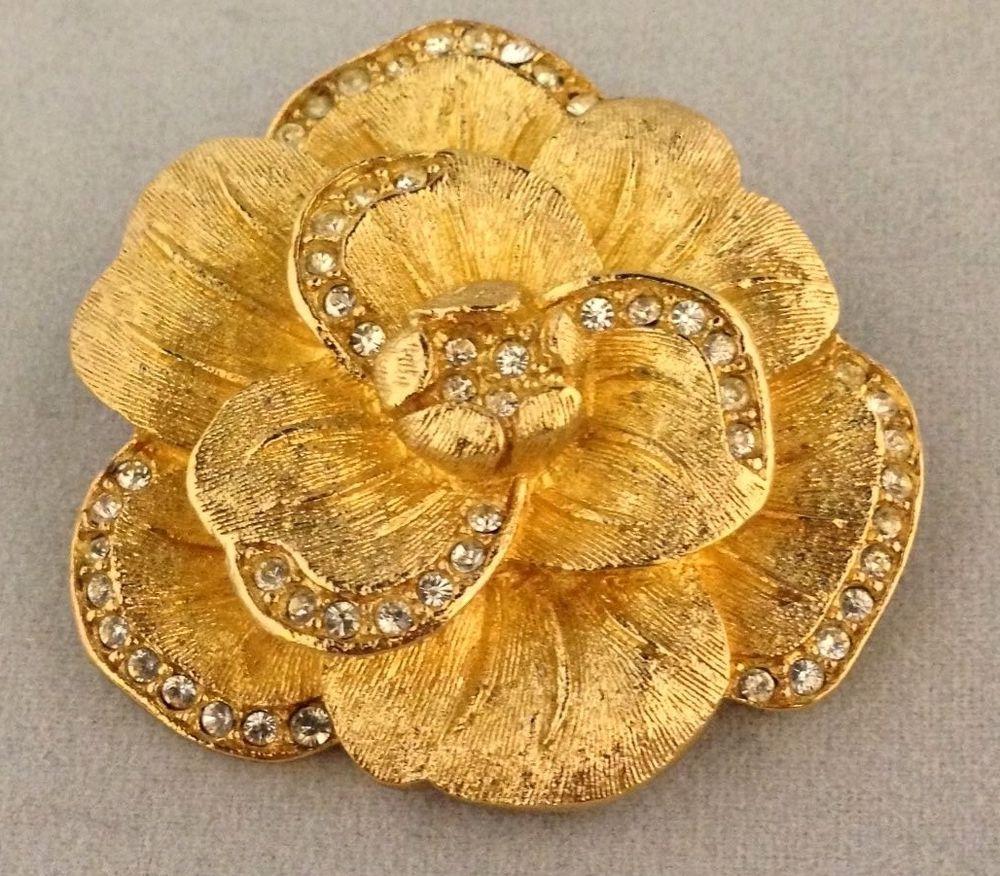 Vintage estate christian dior crystal flower brooch pin Crystal